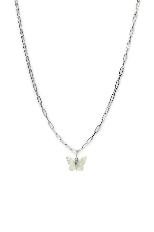 Glasswing Butterfly Chunky Ketting - Zilver