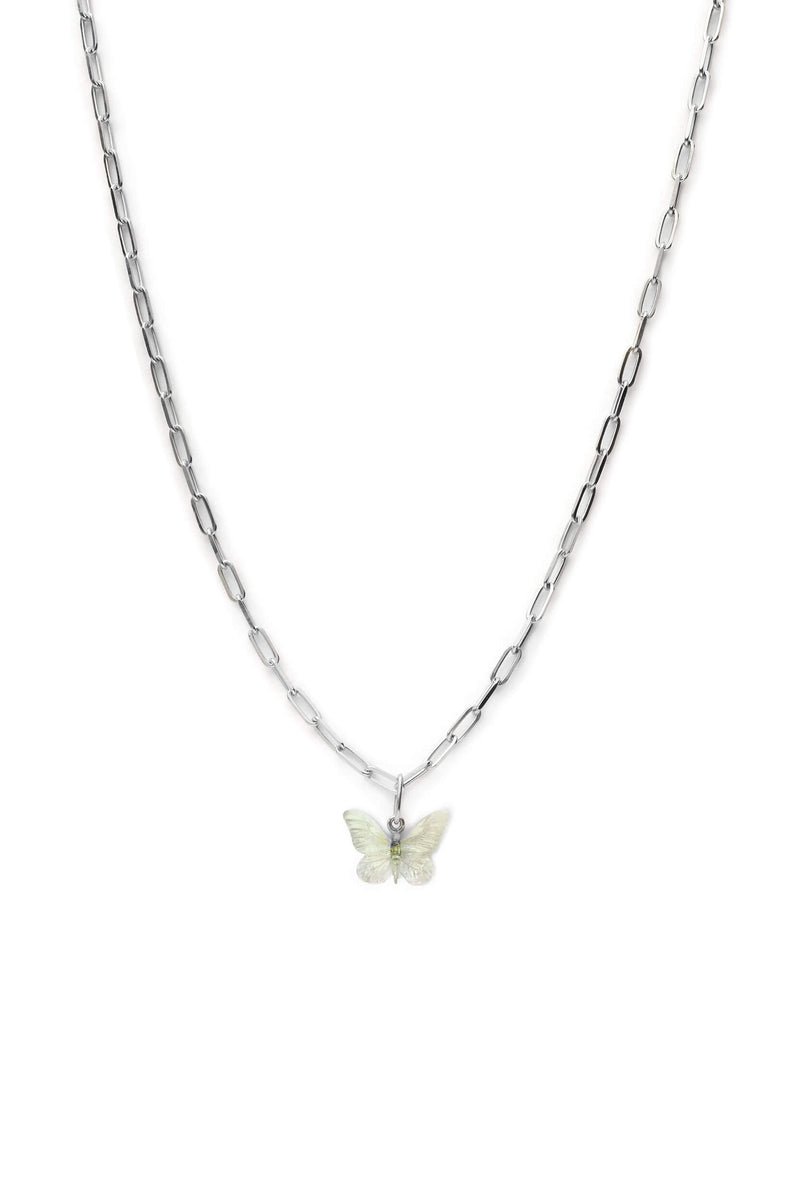 Glasswing Butterfly Chunky Necklace - Silver