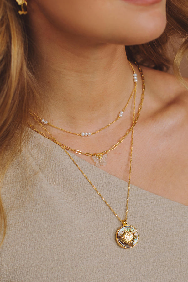 Organic Pearl Necklace - Gold