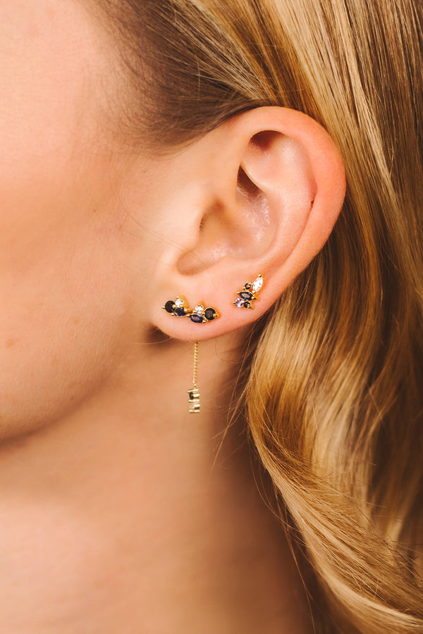 Nightfall Drop Stud Earring 1 piece - Silver