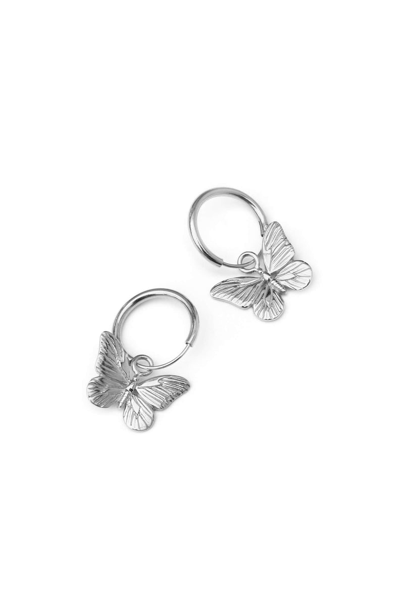 Butterfly Hoops Earrings - Silver