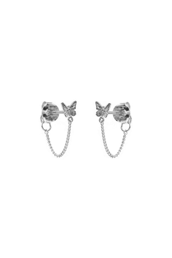 Butterfly Chain Earrings - Silver