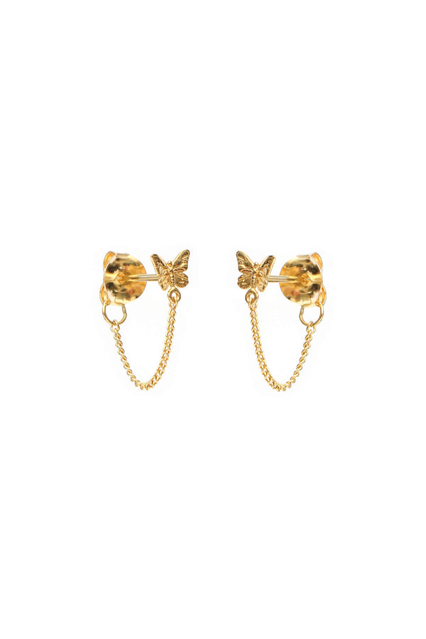 Butterfly Chain Earrings - Gold