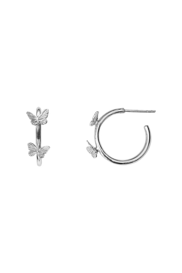 Butterfly Statement Hoops Oorbellen - Zilver