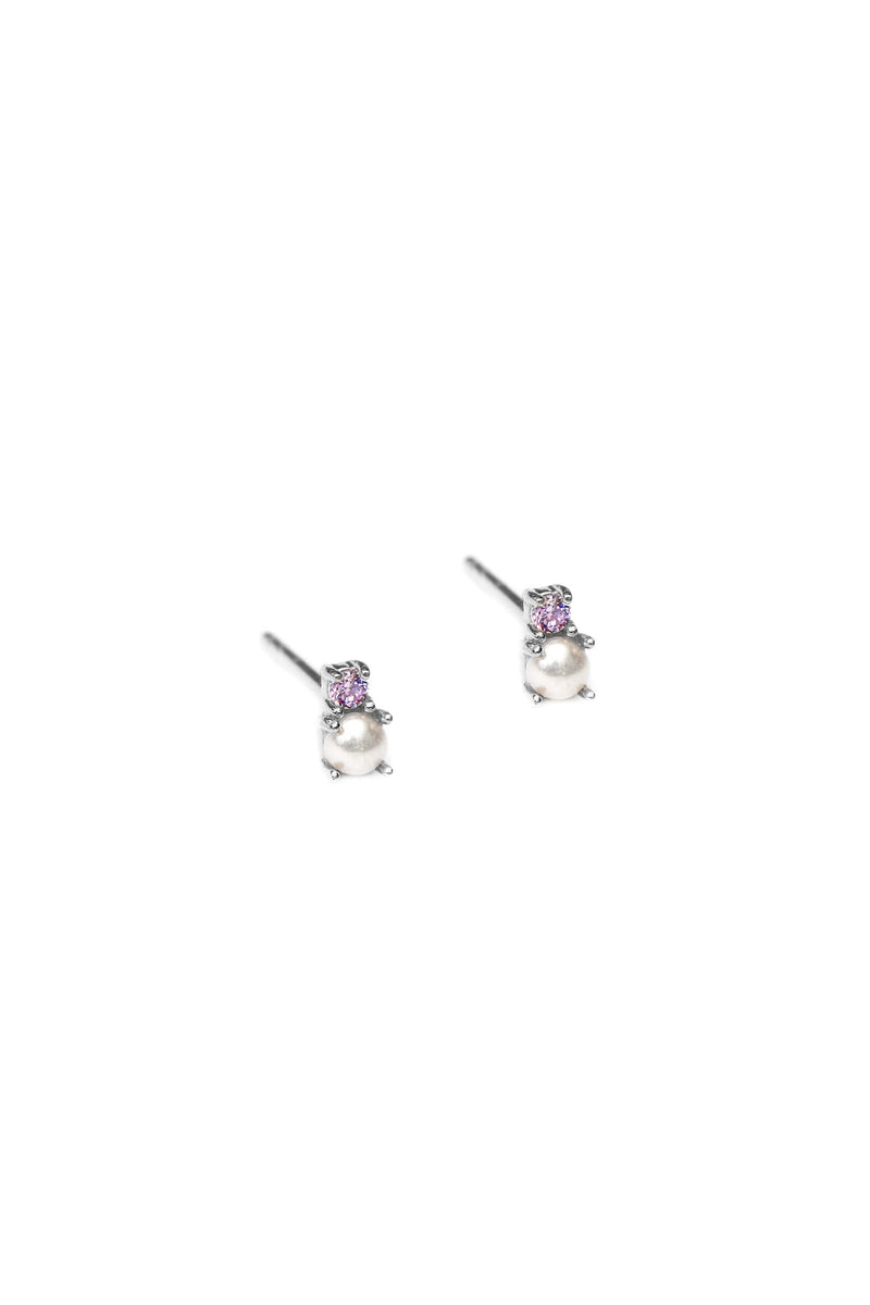 Dew Drop Pearl Studs Earrings - Silver