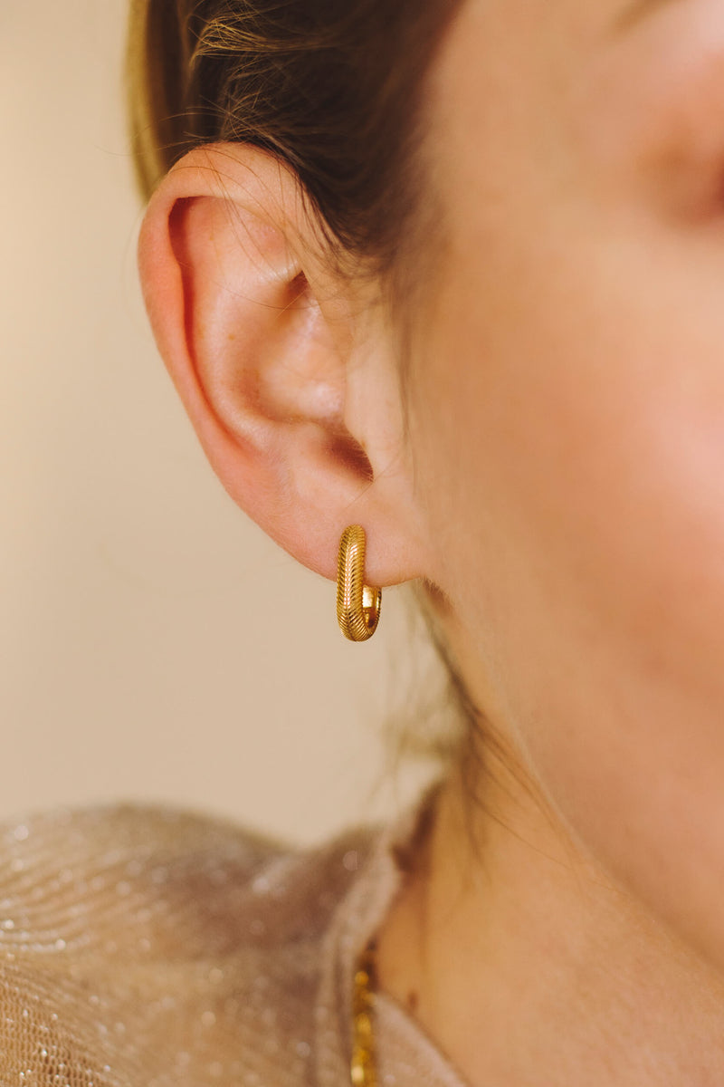 Oval Hugging Hoops Earrings - Gold