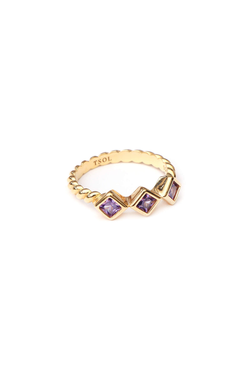 Square Zircon Ring Lilac - Goud
