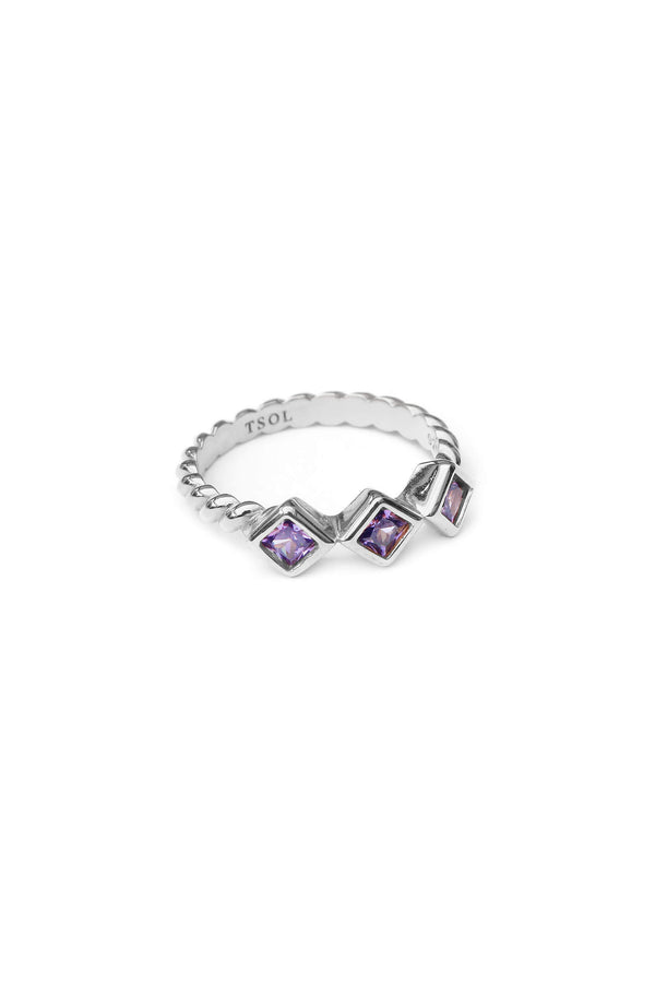 Square Zircon Ring Lilac - Zilver