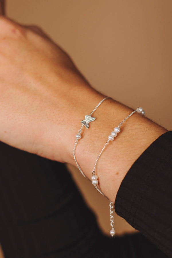 Organic Pearl Armband - Zilver