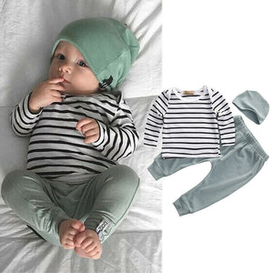 Newborn Baby Boy Infant Striped Long Sleeve Tops Pants Hat 3pcs Outfits Set Causal Clothing 3pcs