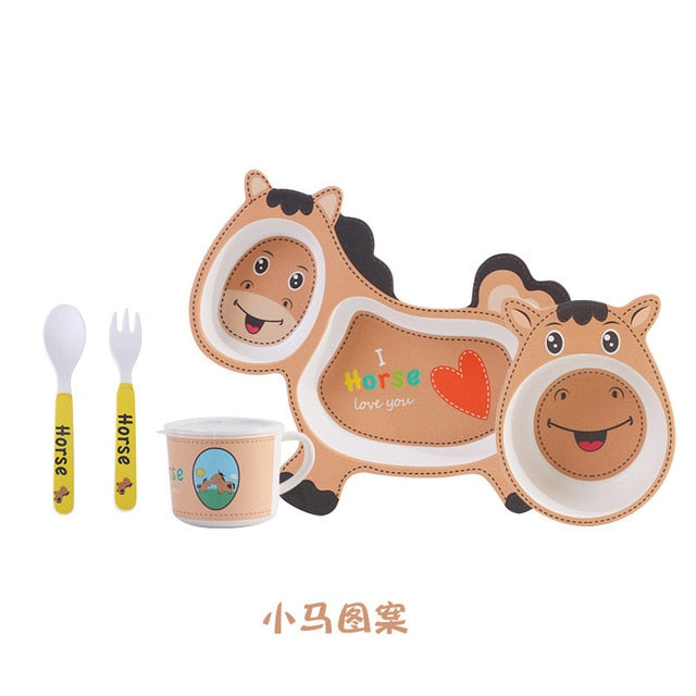Baby Tableware Lovely Cartoon Children Feeding Dishes Kids Dish Bamboo Fiber Dinnerware Set With Bowl Fork Cup Spoon Plate 5Pcs
