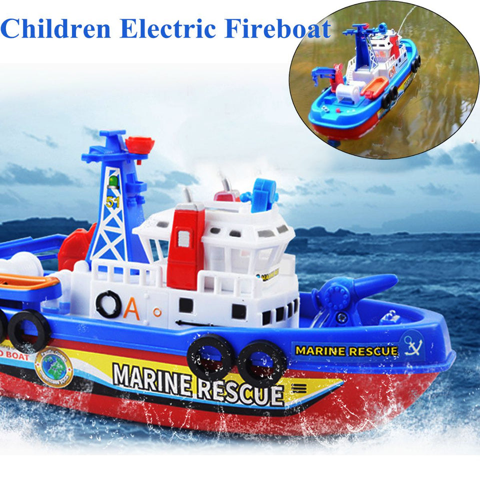 1set Toddler Baby Bath Toy Boat Squirts and Rides in Water Action Bath Time Squirting Rescue Ship Boys Gift without Battery
