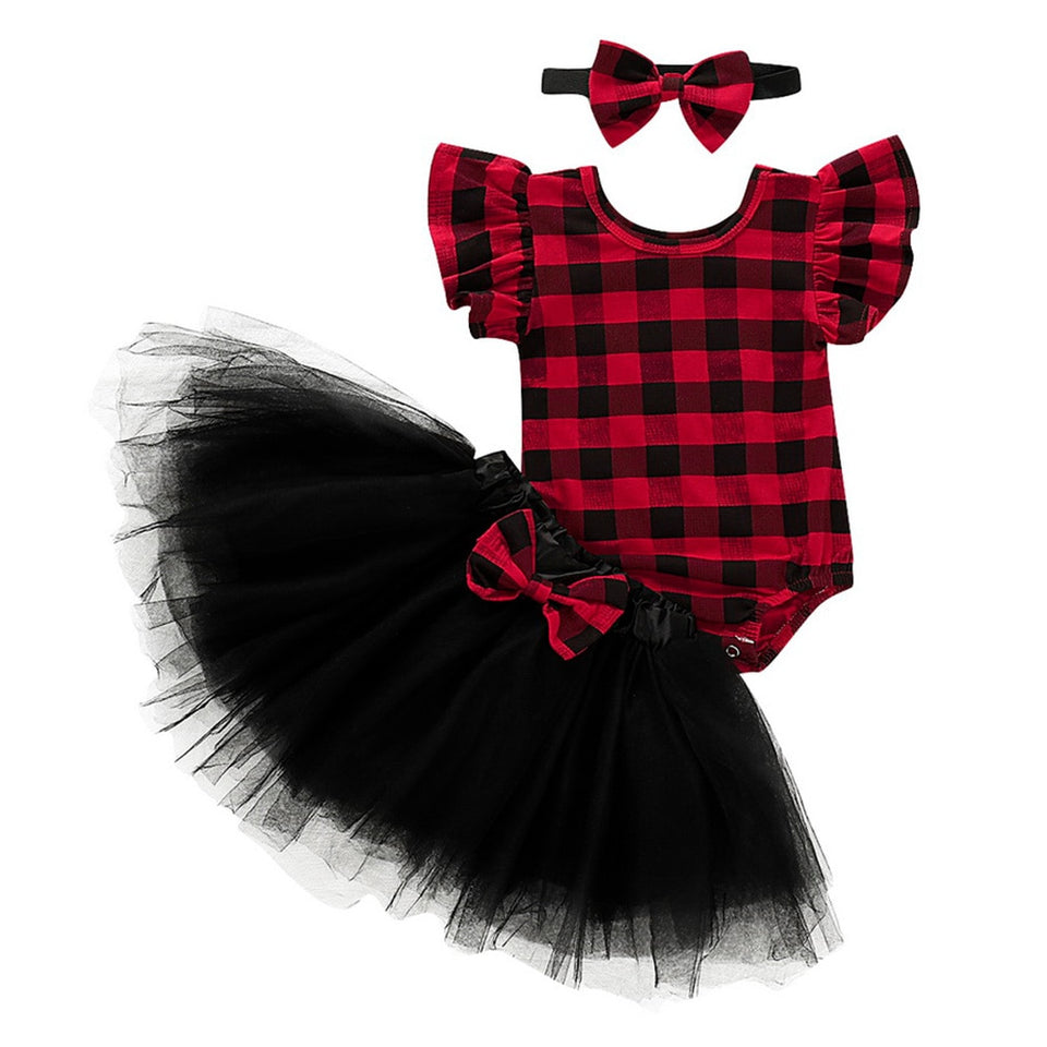 Newborn Girl Christmas Plaids party clothing fly Sleeve Bodysuit Tutu Skirt 3PCS Xmas Outfit baby jumpsuit girl bow headband D20