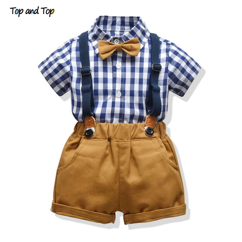 Top and Top Fashion Toddler Boys Clothing Sets Cotton Plaid Short Sleeve Shirt+Suspenders Shorts Baby Gentleman 2Pcs Suit