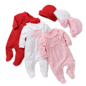 Princess Baby Girl Clothes Set Newborn Girls Long Sleeve Ruffles Rompers + Hats 2pcs Outfits Clothing Sets Infant Jumpsuit 0-12M