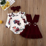 0-24M Newborn Baby Girl Baby Girl Clothes Floral Romper+Strap+Skirts+Headband 3PCS Baby Girl Clothing Outfit