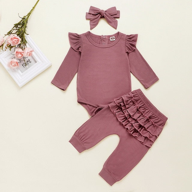 Newborn Infant Baby Girls Ruffle T-Shirt Romper Tops Leggings Pant 3Pcs Outfits Clothes Set Long Sleeve Fall Winter Clothing D20
