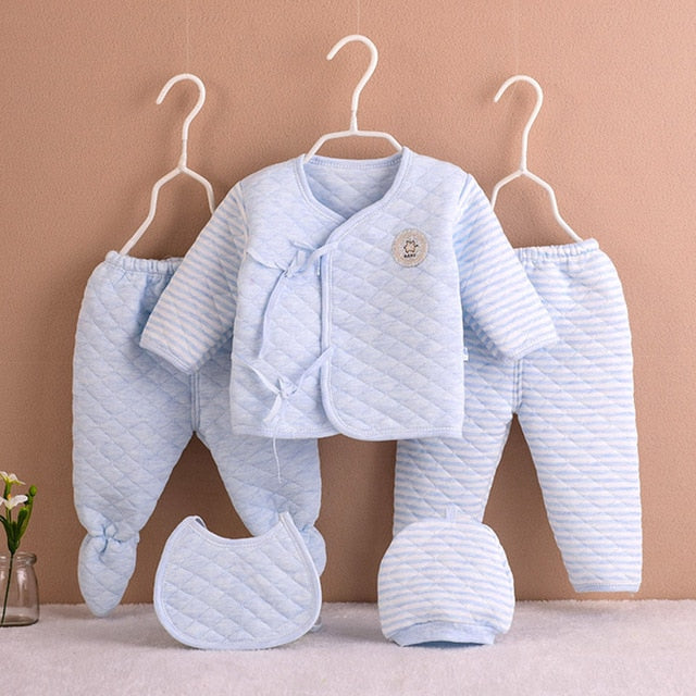 5Pcs/set Newborn Baby Cotton Clothes Set Infant Baby Girls Boys Warm Thickening Underwear Suit Toddler Outfit for New Born Gifts