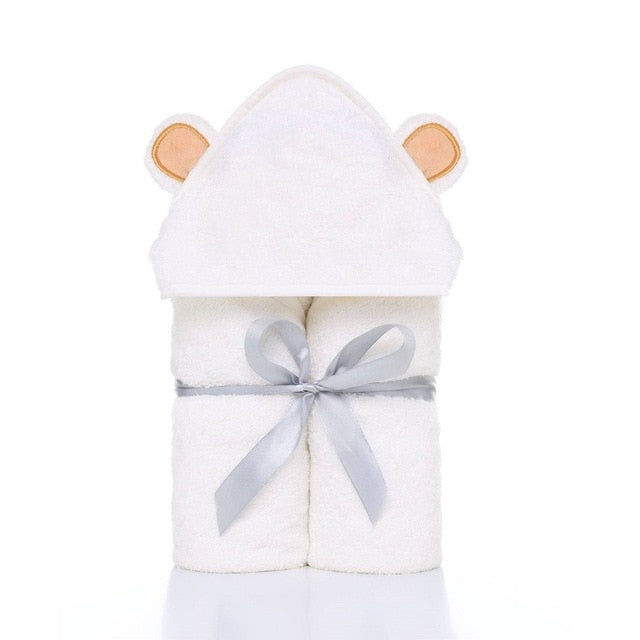 Premium Baby Hooded Towels and Washcloth Set - Organic Bamboo Hooded Baby Towel Extra Soft and Thick Baby Newborn Bath Towel