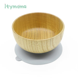 Baby Feeding Bowl Baby Dinner Plate Wooden Kids Feeding Dinnerware With Silicone Suction Cup Wooden Fork Spoon Children's Dishes