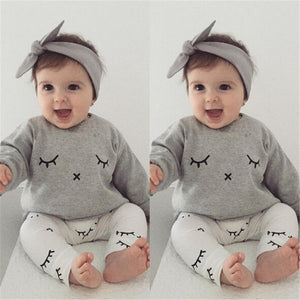 Baby Boy Eyelash Clothes Fall 2017 Bebes Kids Newborn Casual Long Sleeve T-shirt Tops+Long Pants Outfits Baby Girl Clothing Sets
