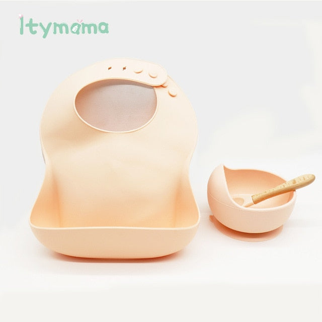 Baby Bibs Silicone Bowl Set Tableware Baby Feeding Waterproof Bib Children's Dinner Plate Infant Dishes Matching Colors BPA Free