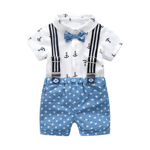 Summer Baby Boys Gentleman Clothing Cotton Baby Sets Bow Shirt Children Outfits Suits White Printed Shirt + Blue Stars Shorts