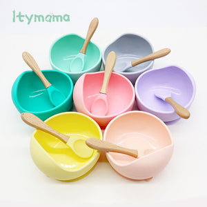 Baby Feeding Plate Children's Dishes Silicone Bowl & Spoon Learning Dishes Tableware Suction Bowl BPA Free Baby Product Itymama