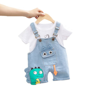 Baby Boy Clothing Sets Infants Newborn Boy Clothes Shorts Sleeve Tops Overalls 2Pcs Outfits Summer Cartoon Clothing 2020