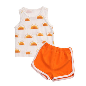 0-24M Baby Boys Summer Clothing Newborn Baby Boy Girls Sleeveless Print Vest Tops+Shorts Pants Toddler Cotton Tracksuits Outfits