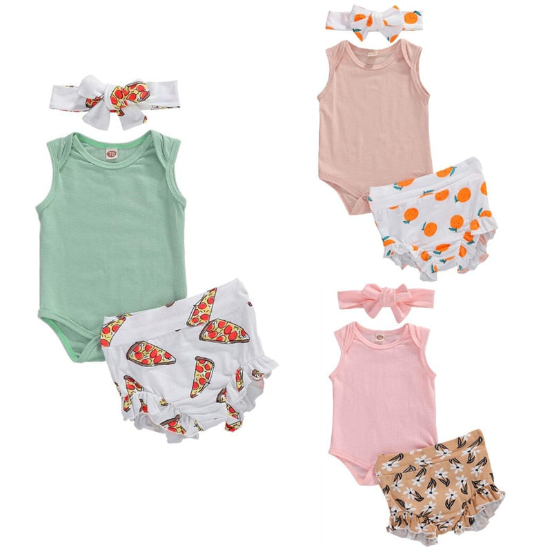 2020 Baby Summer Clothing Infant Baby Girl Boy Clothes Sleeveless Ruffled Romper Tops High Waist Shorts Headband Outfits Sets
