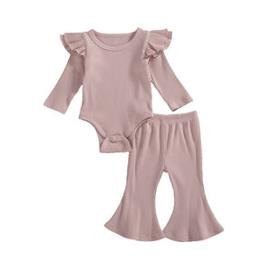 Spring Baby Girls Clothing Sets Todder Newborn Ruffles Long Sleeve Rompers Tops+Flare Pants Girls Casual Ribbed Knitted Outfits