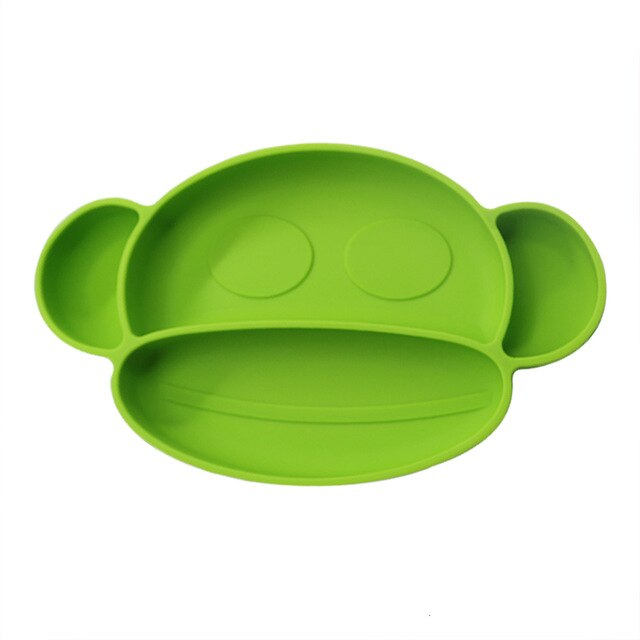 Baby Silicone Plate BPA Free Cartoon Monkey Children's Dishes With Suction Cup Baby Feeding Training  Bowl Dishes Dinner Plate