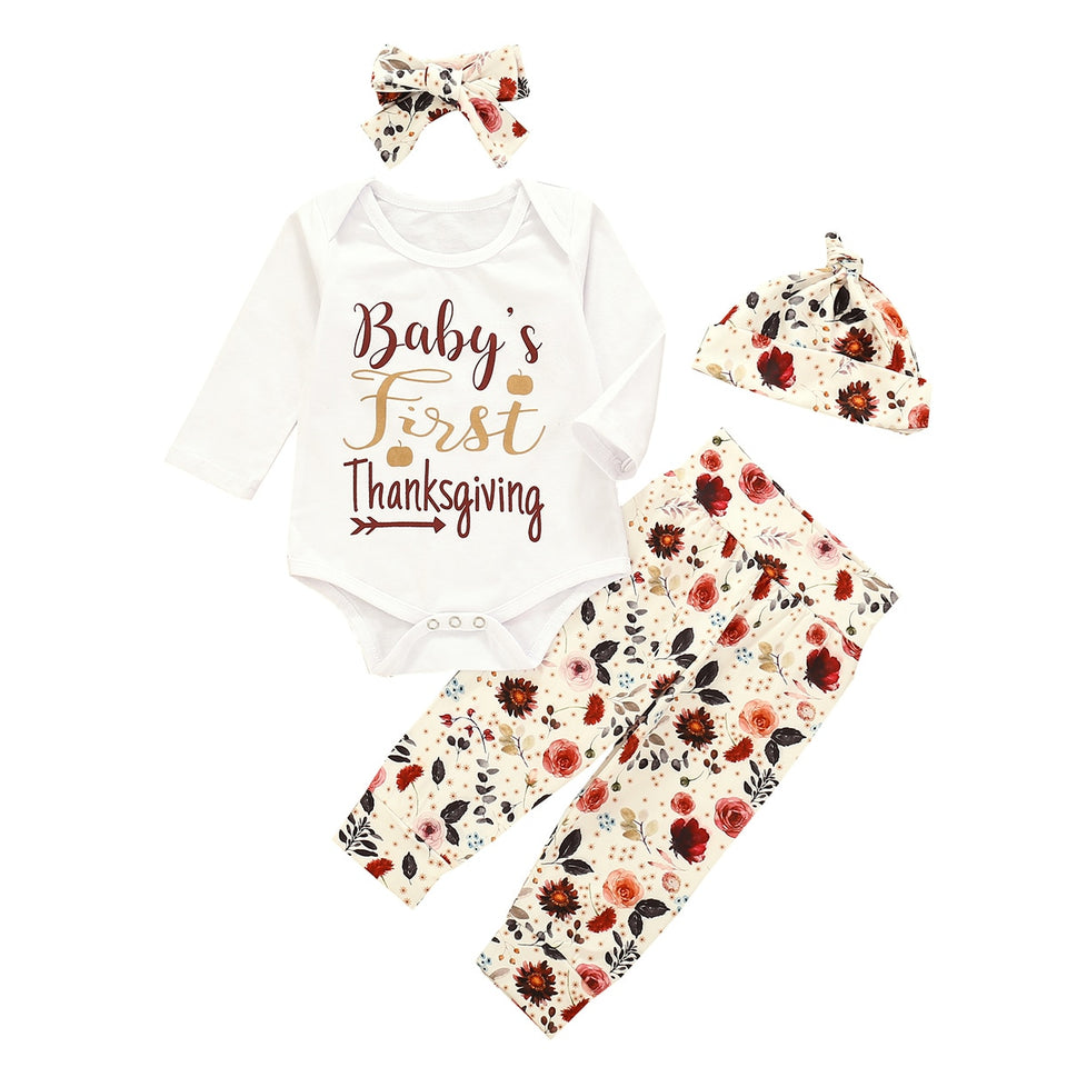 Infant Baby Boy Girl Thanksgiving Clothing Long Sleeve Letter Printed Romper Top Headband Hat Pant 4Pcs Outfit Set