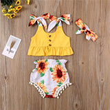 Pudcoco 3PCS Infant Clothing Child Girl Sleeveless Crop Tops Shorts Headband Baby Girls Sunflower Outfits Clothes