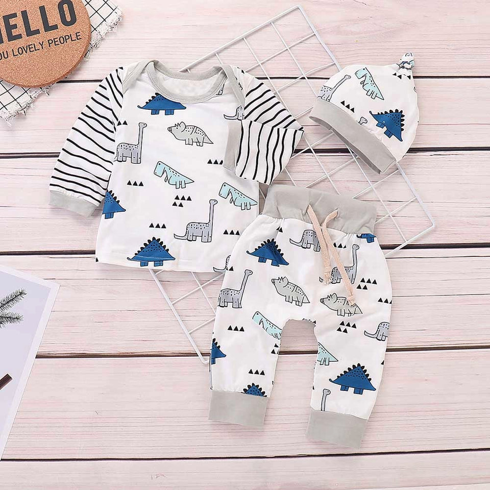 2020 baby girl clothes Newborn Baby Girls Boy Striped Tops+Cartoon Dinosaur Pants Cap Clothes Sets Clothes Set Baby Set Clothing