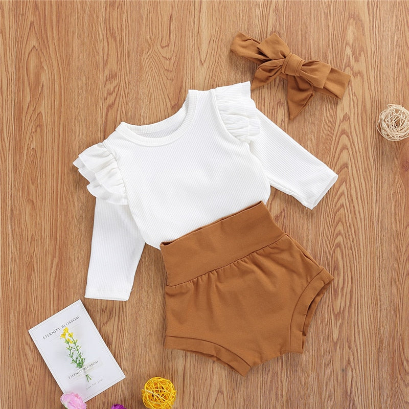 Spring Autumn Newborn Baby Boys Girls Clothes Sets Ruffles Long Sleeve Solid Romper Tops+High Waist Shorts+Pants Kids Clothing