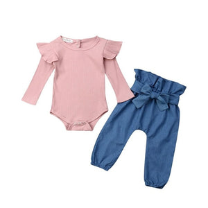 Newborn Baby Girl Clothes Set Long Sleeve Solid Color Ruffles Romper Tops Bowknot Pants Headband Outfits Infant Clothing 0-24M