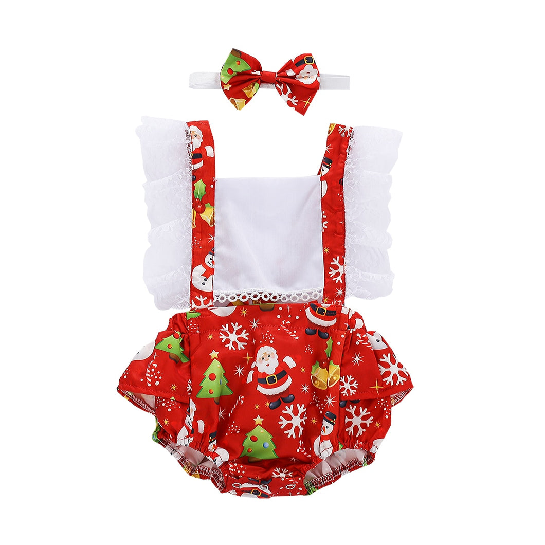 2020 Christmas Newborn Baby Girls Clothing Set Infant Square Collar Santa Print Romper Kids Suspender Jumpsuits + Headband 0-24M