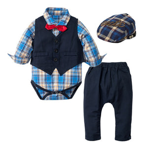 Baby Suits Newborn Boy Clothes Vest + Romper + Hat Formal Clothing Outfit Party Bow Tie Clothes Outfit Birthday Boy Romper Dress
