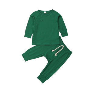 Cute 0-24M Baby Girl Clothing Set Boy Solid Color Pajamas Set Newborn Cotton Sleepwear Kids Nightwear Clothes Outfit Home Wear