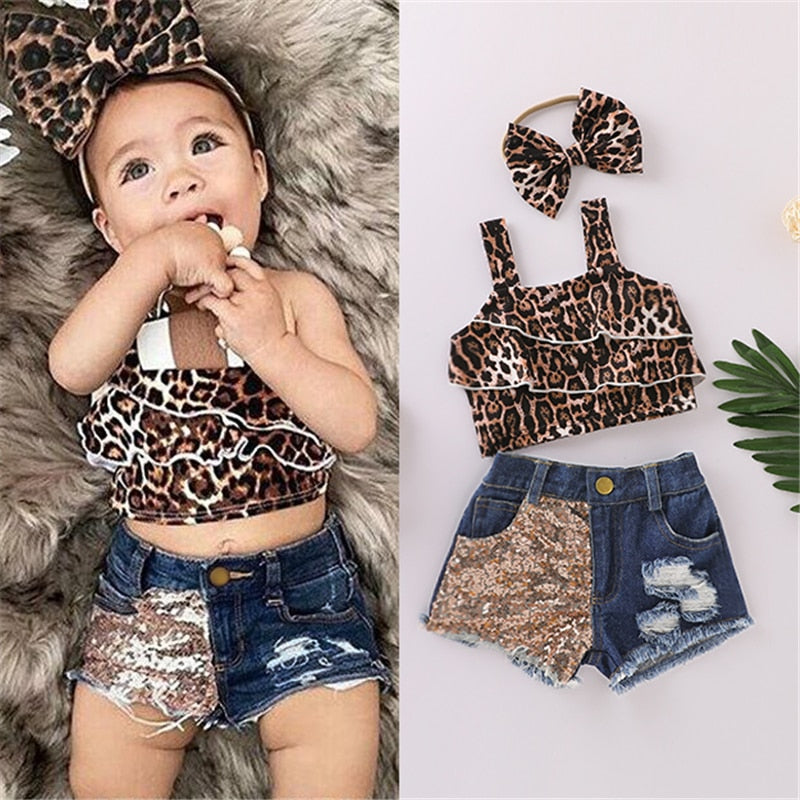 Pudcoco Child Girl Set Girls Top Shorts Short Sleeve Pleated Vest Demin Shorts Pockets Summer Leopard Print Outfits Clothing