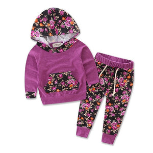 AA Floral Baby Girls Clothes Long Sleeve T-shirt Coat Hooded Tops + Pants Casual Outfits 2PCS Hooded Clothing Set