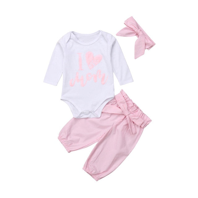 2020 Autumn Winter 0-24M Newborn Infant Baby Girl 3pcs Clothes Set Kids Girls Romper+Long Pants+Headband Outfits Clothing Set