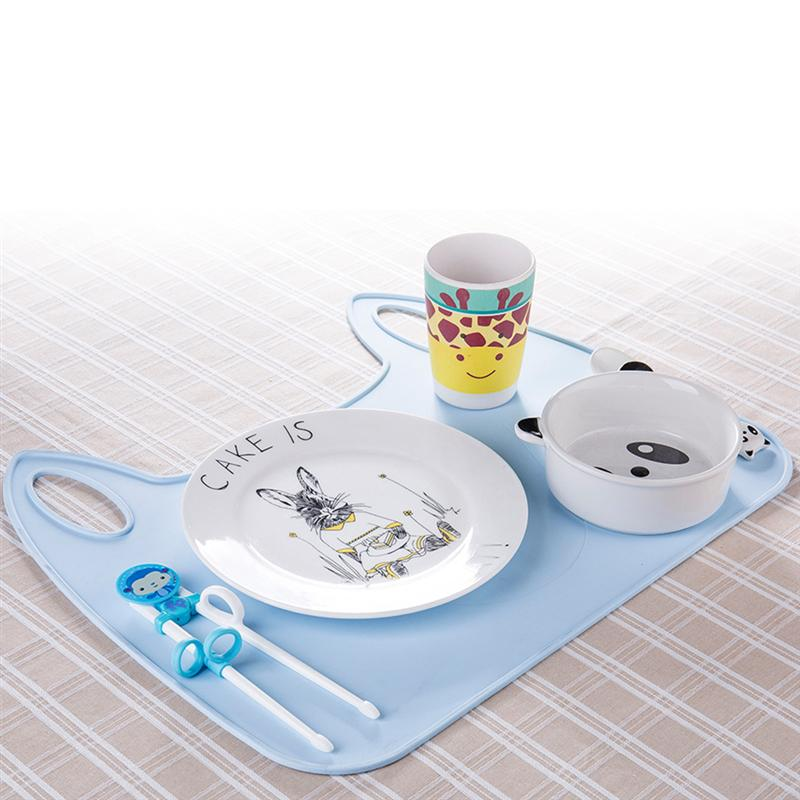 1Pc Baby Silicone Anti-Slip Placemats Washable Placemats Infant Cartoon Tablemats Baby Dining Mat Sanitary Care Tools Blue Pink