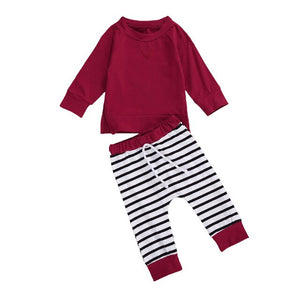 Toddler Infant Boys Girls Clothes Set Fall Winter Cotton Striped Long Sleeve Swearshirt+Pants 2pcs Kids Children Clothing