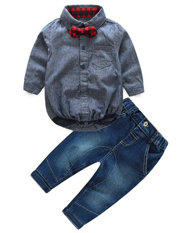 Toddler Baby Boys Outfits Wedding Party Prom Shirt Romper Jumpsuit Suit Formal Outfits Clothing Sets Newborn Baby Toddler Set