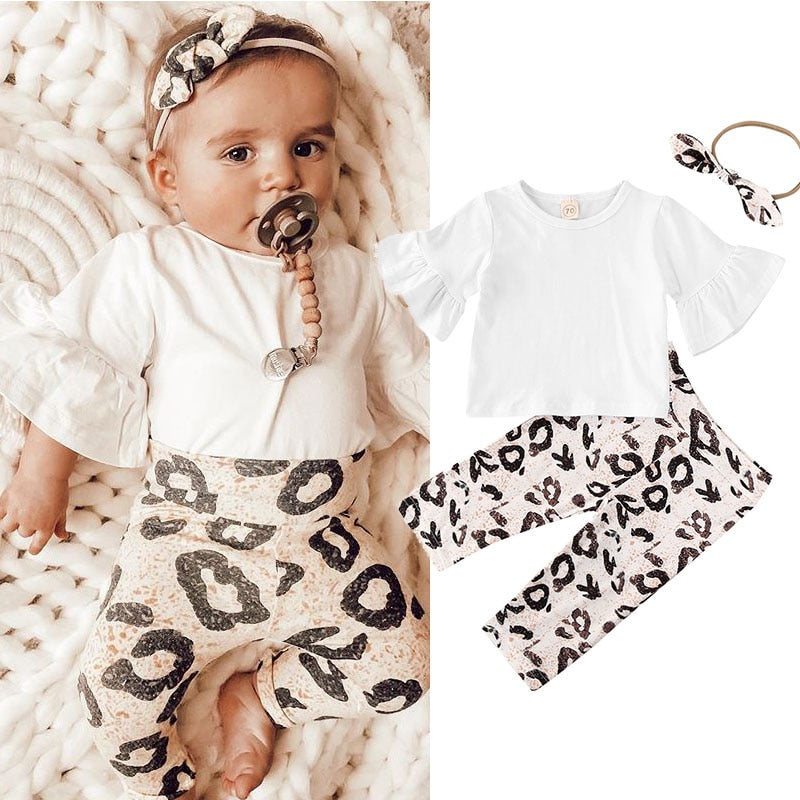 Toddler Kids Baby Clothing Set Solid Top Leopard Print Pant Boy Floral Tops Pants Leggings 3pcs Outfits Clothes 0-24 Months