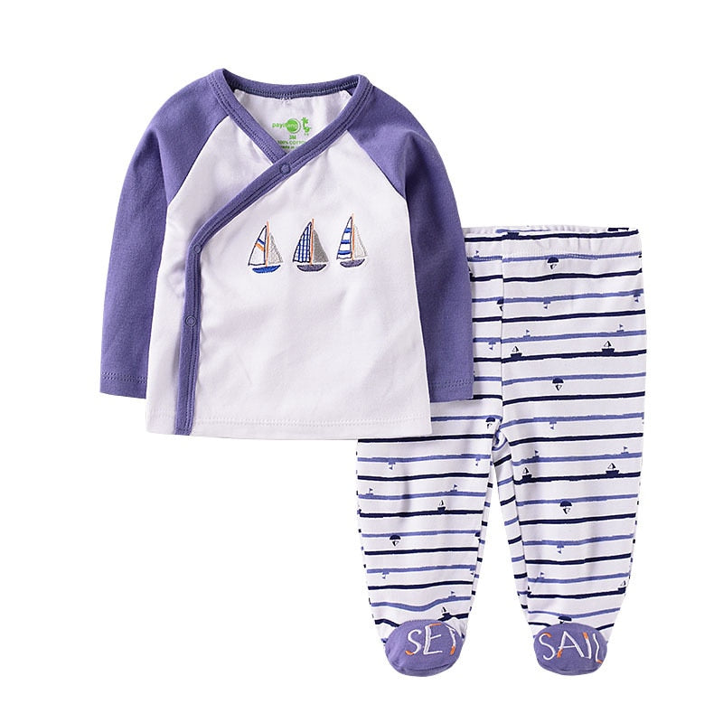Newborn Baby Boy Clothes Set 2 pieces/set  Sailboat Printed Long Sleeve Autumn Spring Suit Cotton Babies Outfit Infant Clothing