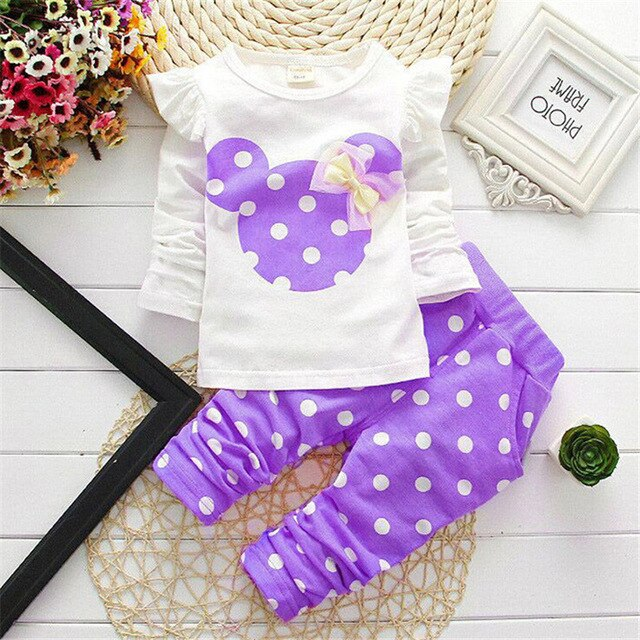 Baby Girls Clothes 2020 Autumn Baby Girls Clothing Sets Newborn Cotton Minnie Printed Long Sleeved T-shirt+pants Kids 2pcs Suit